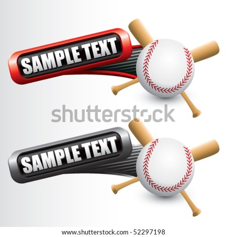 baseball and crossed bats on tilted red and gray banners - stock vector
