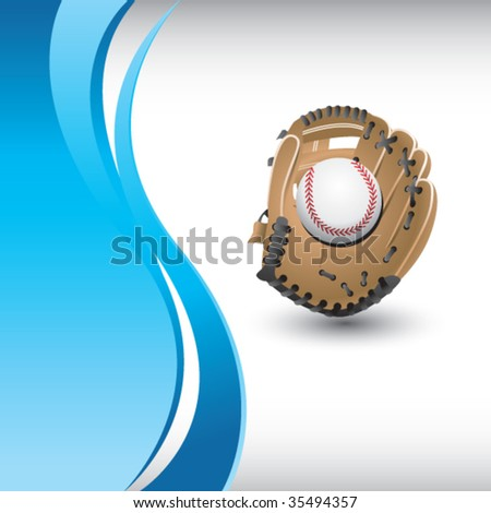 baseball and glove on vertical blue background - stock vector