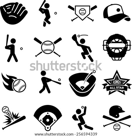 Baseball and softball icon set.  - stock vector