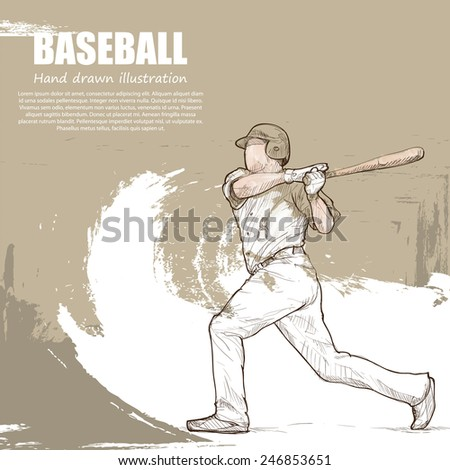 baseball background Design. Hand drawn. - stock vector