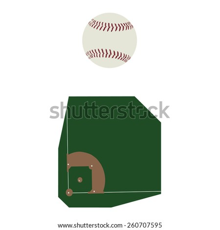 Baseball ball and field vector icon set, baseball diamond, sport equipment - stock vector