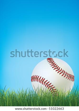 Baseball Ball on Grass. Vector. - stock vector