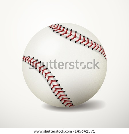 Baseball ball on white background. Sport leather ball. Vector illustration EPS 10.