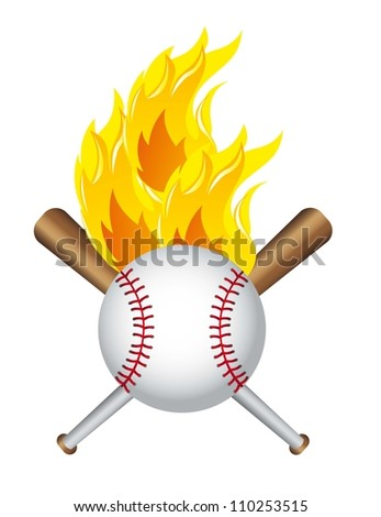 baseball ball with baseball bat isolated over white background. vector - stock vector