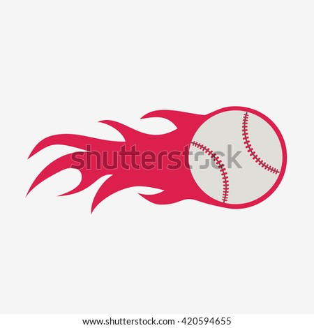 Baseball ball with fire flame vector icon, sport equipment - stock vector