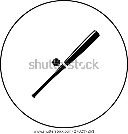 baseball bat and ball - stock vector