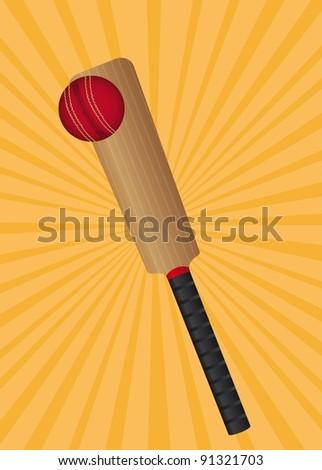 baseball bat and baseball ball over orange background. vector - stock vector