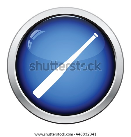 Baseball bat icon. Glossy button design. Vector illustration. - stock vector