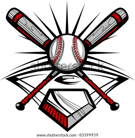 Baseball Bats and Ball Graphic Image Template - stock vector