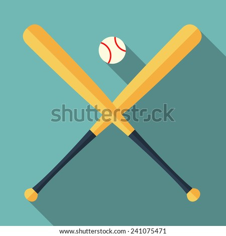 baseball bats and ball icon with long shadow. flat style vector illustration - stock vector