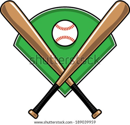 Baseball bats and baseball over green diamond vector illustration - stock vector