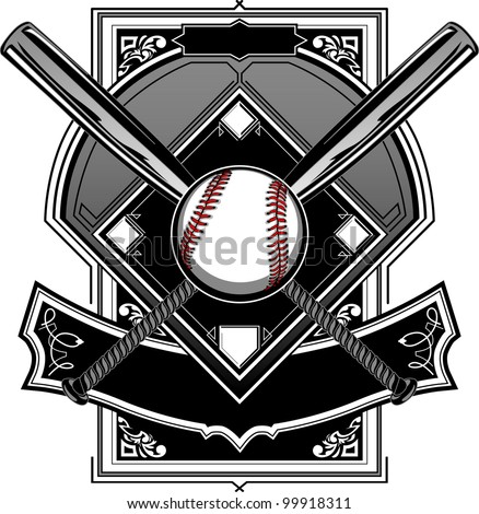 Baseball Bats, Baseball, and Home Plate or Ornate Field Vector Graphic - stock vector