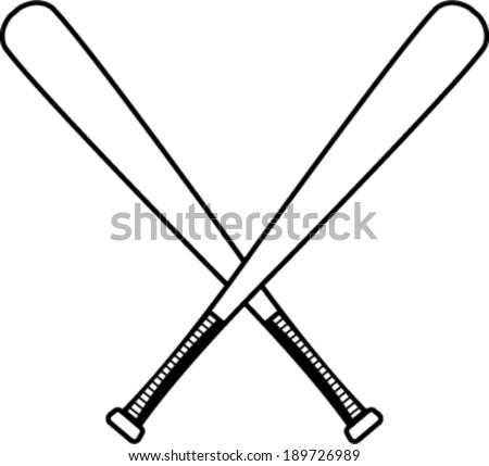 Black White Crossed Baseball Bats Vector 189514358