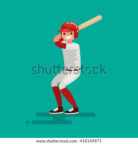Baseball  batter player with bat. Vector Illustration in a flat design - stock vector