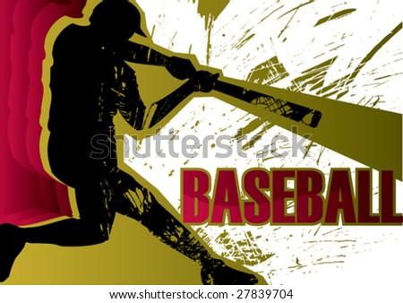 Baseball batter poster. Vector illustration. - stock vector