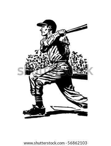 Baseball Batter 2 - Retro Clip Art