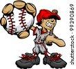 Baseball Boy Cartoon Player with Bat and Ball Vector Illustration - stock vector