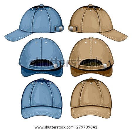Baseball cap. Front, side and back views. Vector illustration.