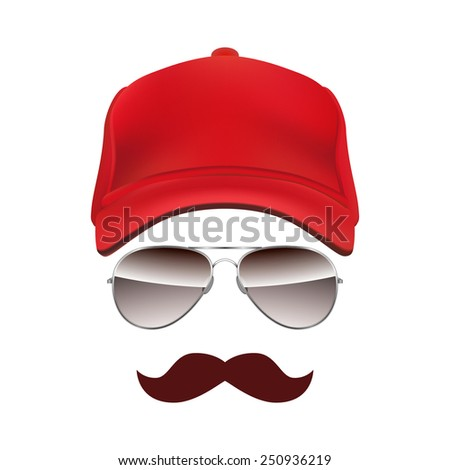 Baseball cap Glasses and Mustache isolated on white background vector - stock vector
