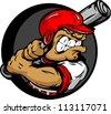 Baseball Cartoon Batter with Helmet and Bat Vector Illustration - stock vector