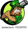 Baseball Cartoon Leprechaun on St Patricks Day Holiday Vector Illustration - stock vector