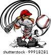 Baseball Cartoon Player with Bat and Ball Vector Illustration - stock vector