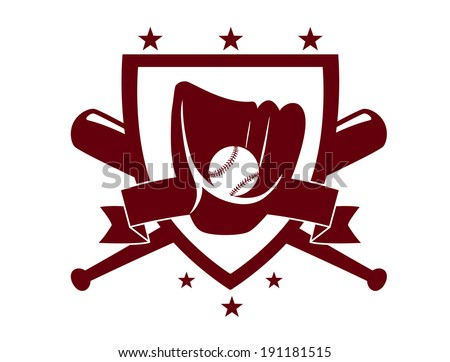 Baseball championship emblem or logo with crossed bats behind a shield enclosing a glove and ball in a dark brown silhouette on white - stock vector