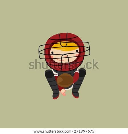 baseball character. catcher in gear. vector illustration - stock vector