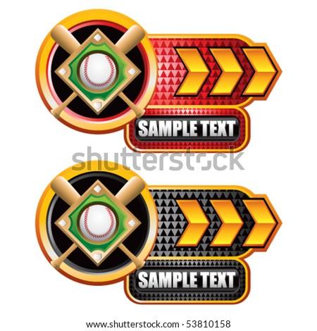 baseball diamond gold arrow nameplates - stock vector