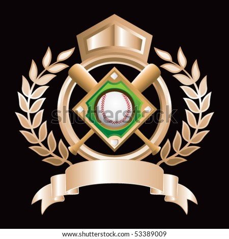 baseball diamond gold royal display - stock vector