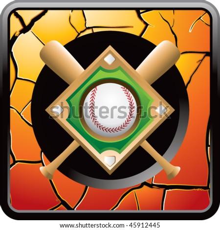 baseball diamond orange cracked web button - stock vector