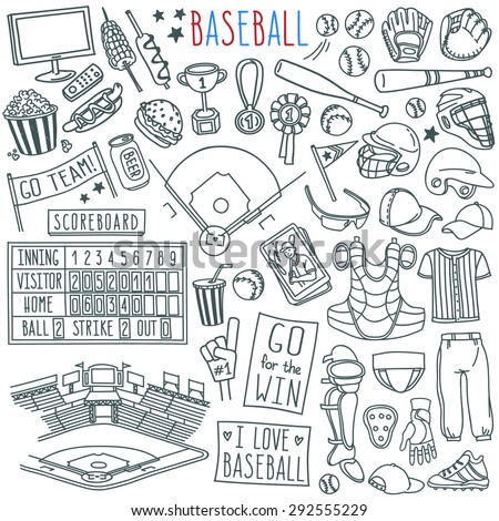 Baseball doodle set. Special equipment, player's clothing, baseball field diagram, stadium view, fan's banners and signs. Hand drawn vector illustration isolated over white background. - stock vector