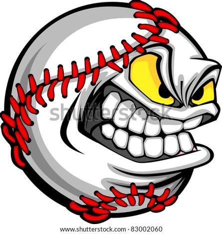 Baseball Face Cartoon Ball Image - stock vector