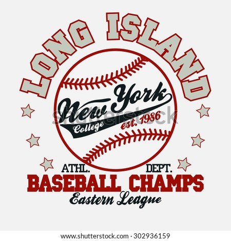 Baseball Fashion Typography Graphics. New York Sport T-shirt Design. Vector - stock vector