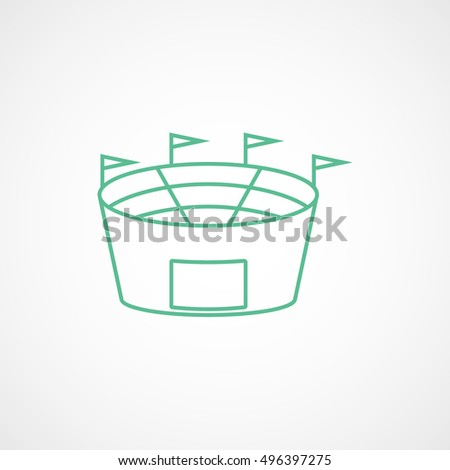 Baseball Field Green Line Icon On White Background