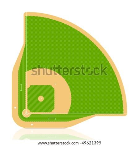 Baseball field. Vector. Detailed portrayal of grass. - stock vector