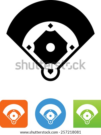 Baseball field. Vector icons for video, mobile apps, Web sites and print projects. - stock vector
