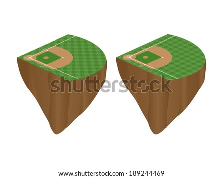 Baseball Fields with Vertical and Horizontal Pattern Floating Islands - stock vector