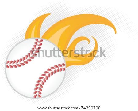 baseball flying on fire - stock vector