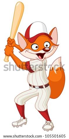 Baseball fox - stock vector