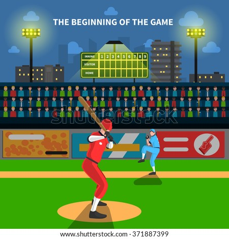 Baseball game concept with athletes on field and fans vector illustration - stock vector