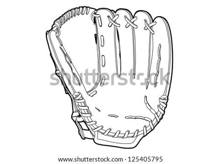Baseball glove on white background (outline) - stock vector