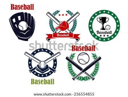 Baseball heraldic emblems set isolated on white background with sport trophy, crossed bats, balls and laurel wreaths