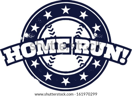Baseball Home Run Stamp - stock vector
