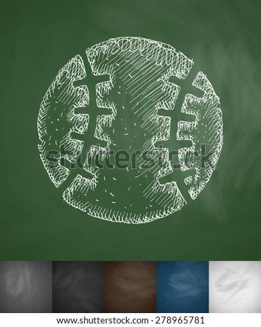 baseball icon. Hand drawn vector illustration. Chalkboard Design - stock vector