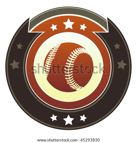 Baseball icon on round red and brown imperial vector button with star accents - stock vector