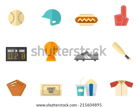 Baseball icon series in flat colors style. - stock vector