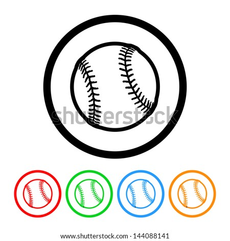 Baseball Icon Vector with Four Color Variations - stock vector