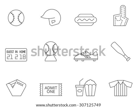 Baseball icons in thin outlines. - stock vector
