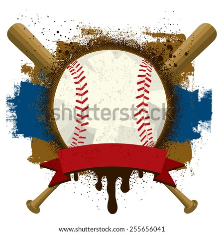 Baseball Insignia A baseball with a text banner over baseball bats and a grunge background.   - stock vector